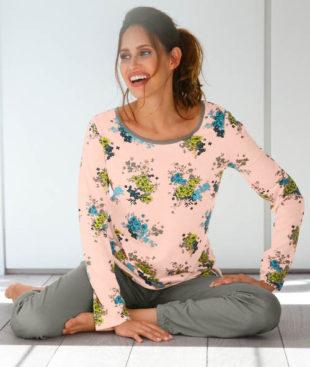 Dámské květinové pyžamo pro plnoštíhlé