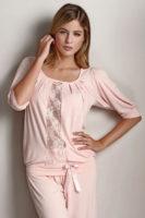 Italské bambusové dámské pyžamo s krajkovou vsadkou