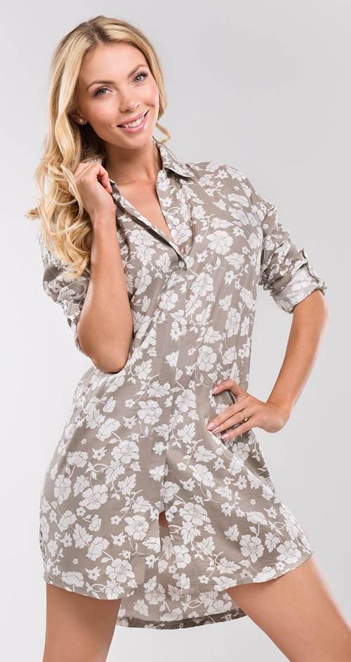 Límečková dámská noční košile na knoflíky