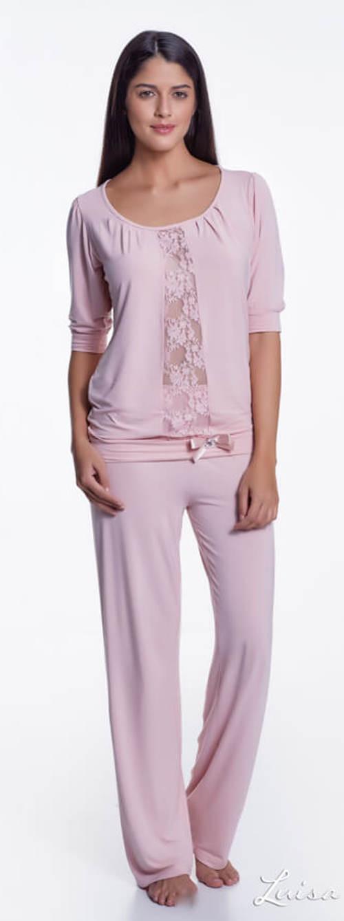 Světle růžové dámské luxusní pyžamo