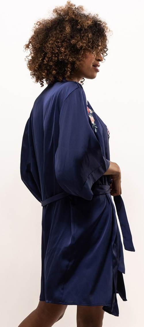 Saténový kimono župan modré barvy
