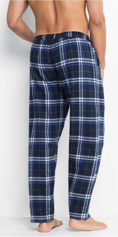 Modré flanelové pyžamové kalhoty