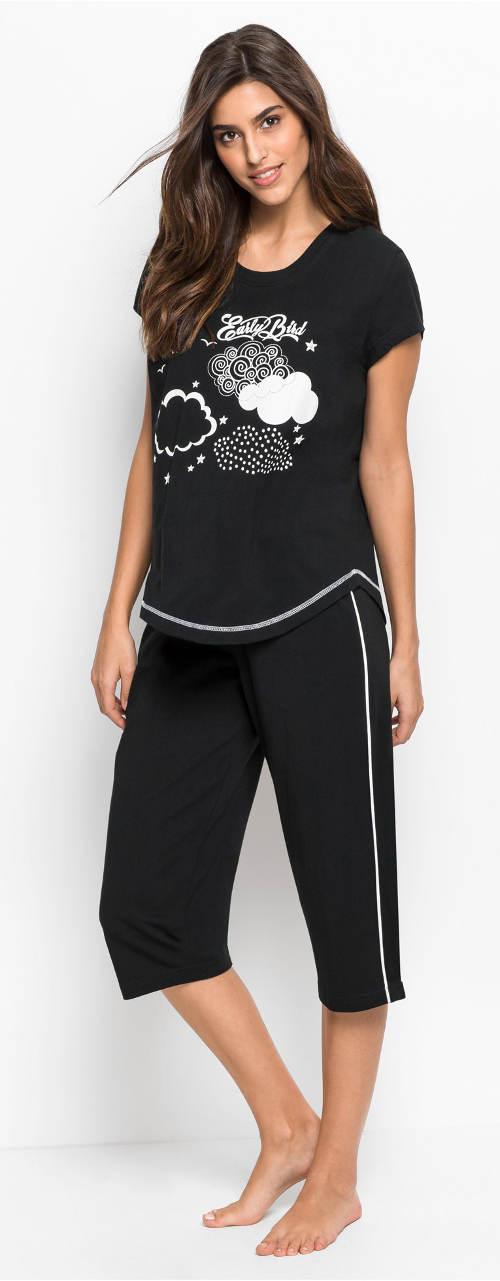 Černé dámské capri pyžamo