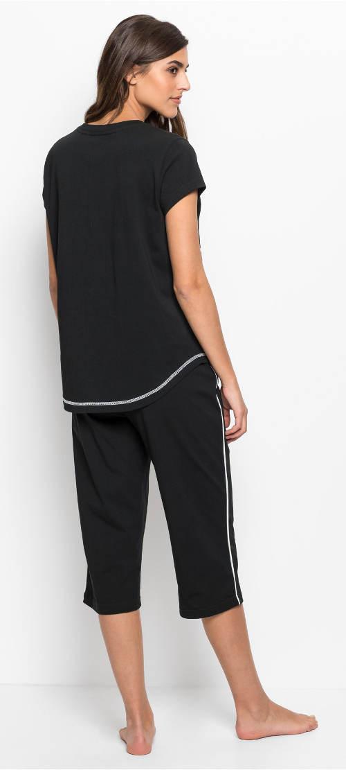 Krátké černé dámské pyžamo
