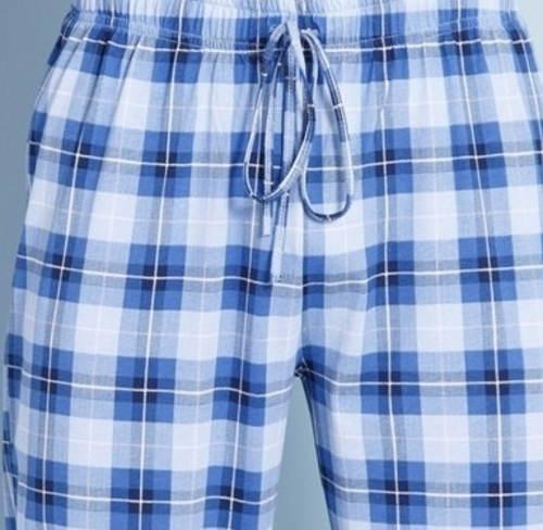 Modré kostkované dlouhé pyžamové kalhoty