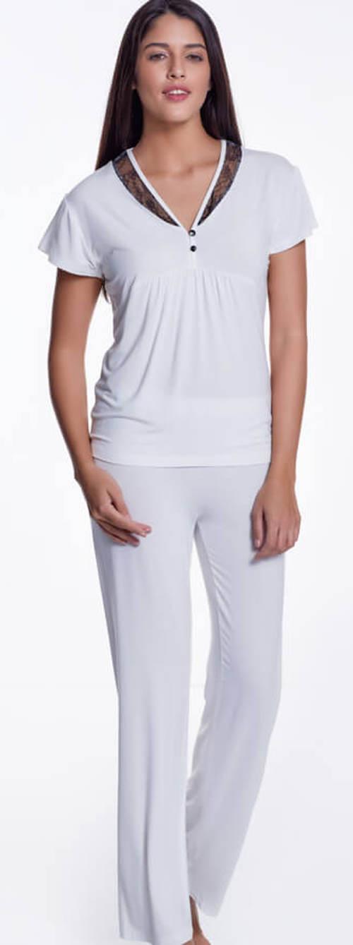Bílé kalhotové dámské pyžamo