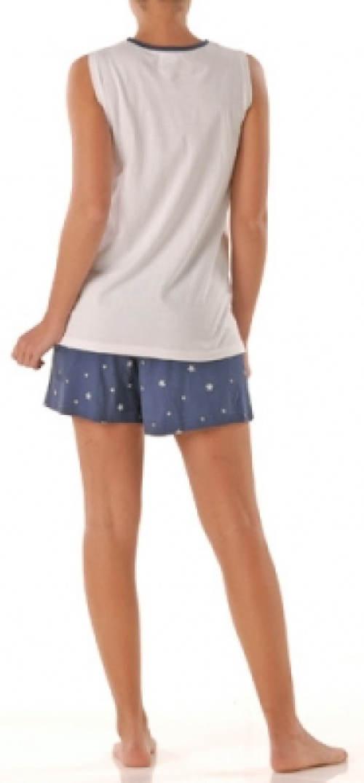 Bílo-modré dámské kraťáskové pyžamo