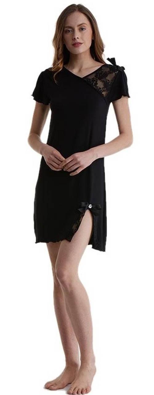 Černá bambusová noční košilka s krajkou · Dámské noční košilky 158c552e11
