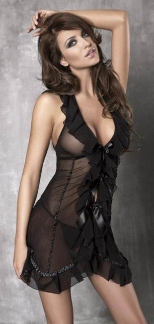 Černá volánková průsvitná košilka