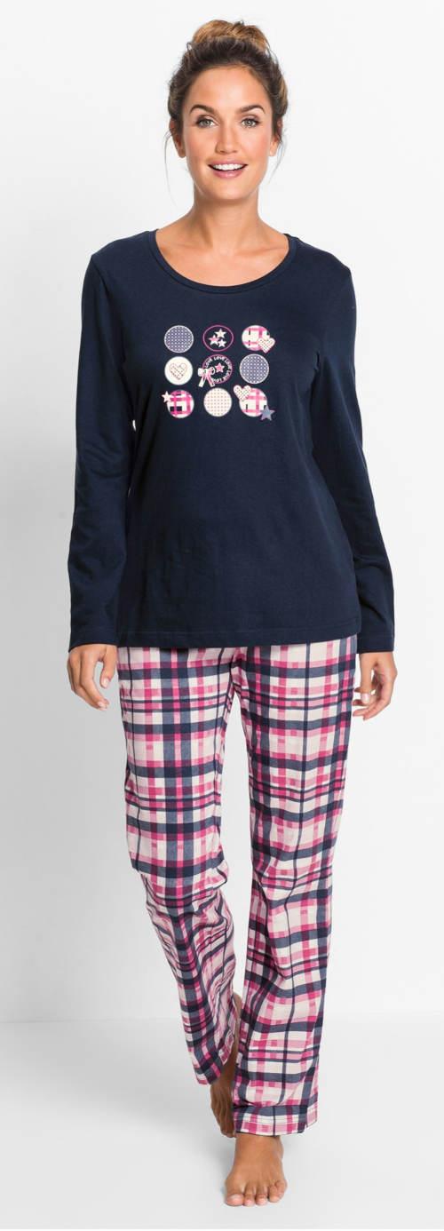 Dámské pyžamo s dlouhými karovanými kalhotami