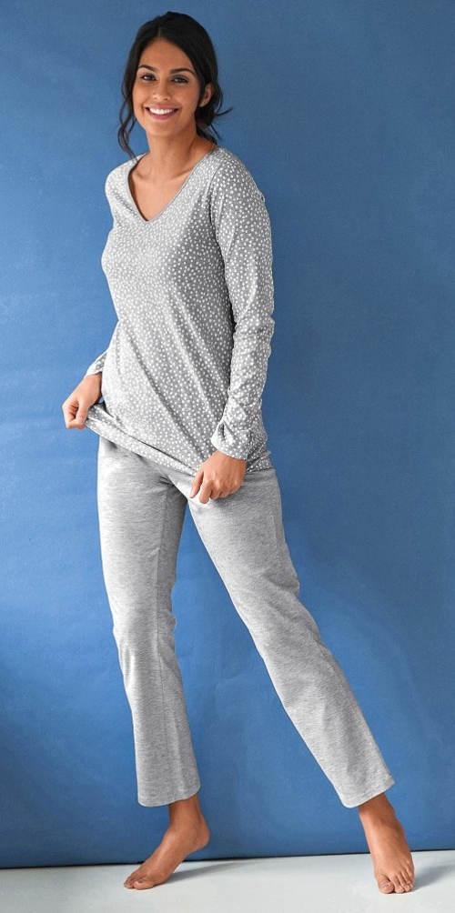 Dlouhé bavlněné dámské pyžamo