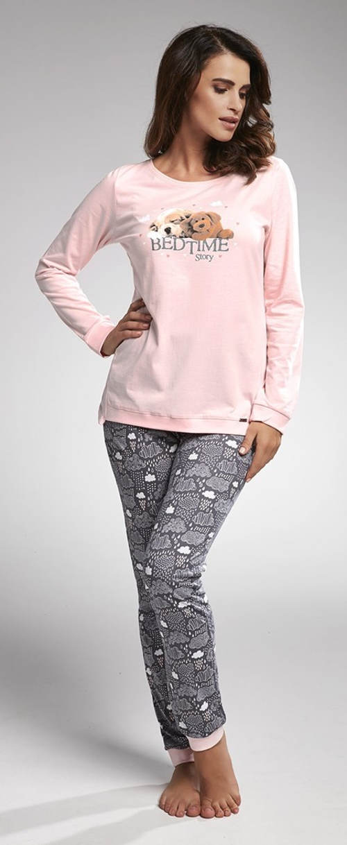 Dlouhé dámské pyžamo z příjemného bavlněného úpletu