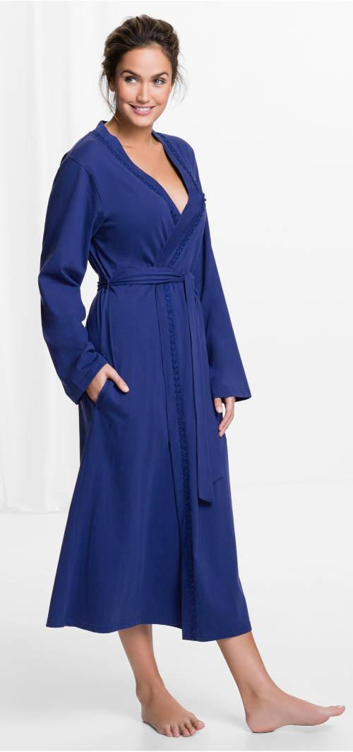 Lehký modrý dámský župan
