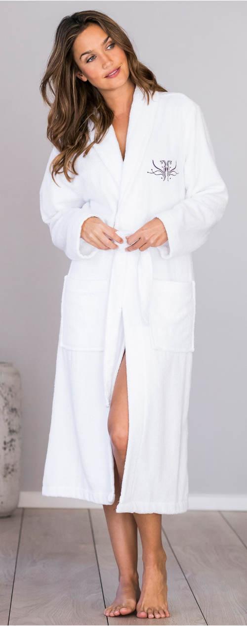 Levný bílý dámský bavlněný župan
