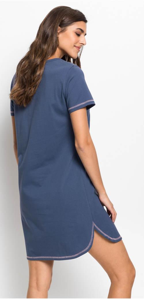 Modrá dámská bavlněná noční košile