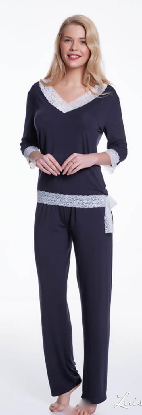 Modré dámské bambusové pyžamo