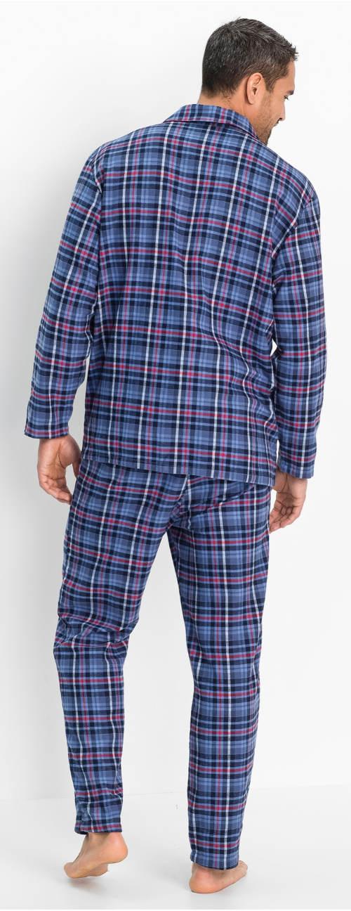 Modré kostkované pánské pyžamo