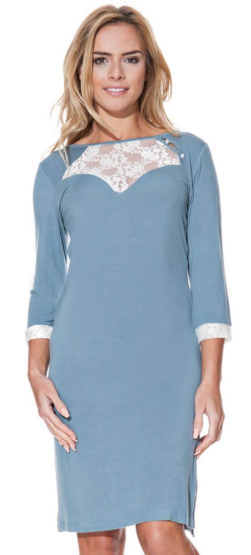 Modrošedá pohodlná bambusová košilka s 3/4 rukávem