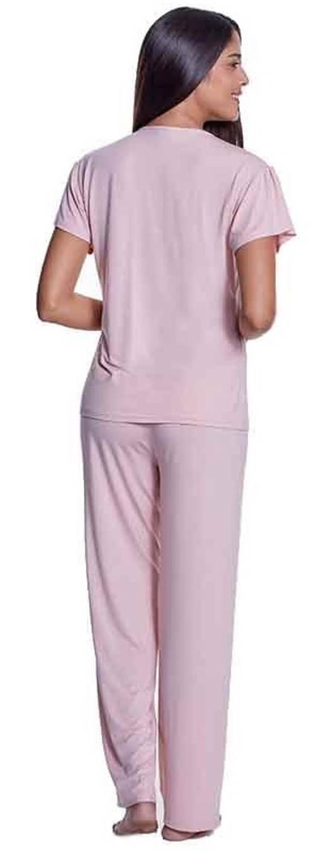 Světle růžové dlouhé dámské pyžamo