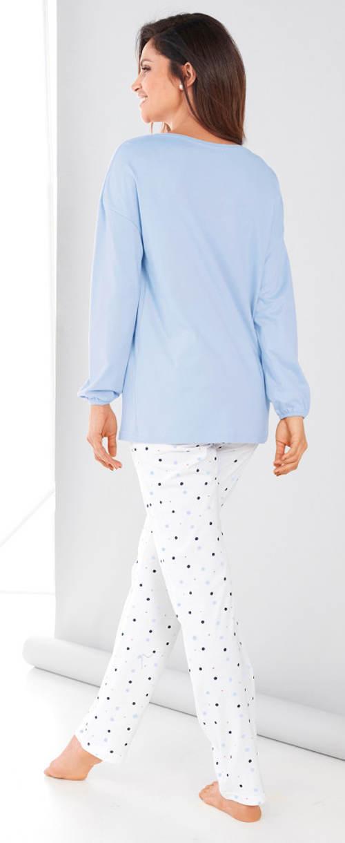Dámské pyžamo s dlouhými puntíkovanými kalhotami