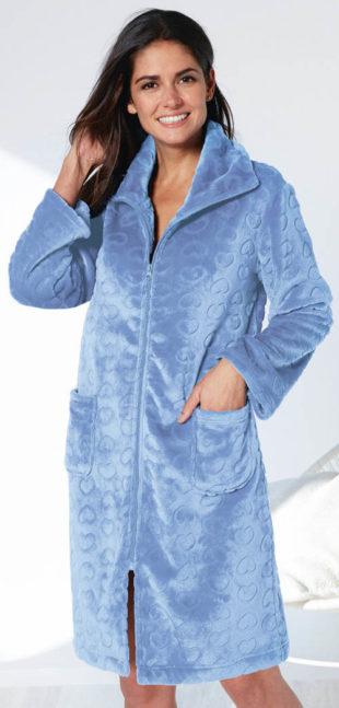 Hebounký modrý dámský župan polar fleece