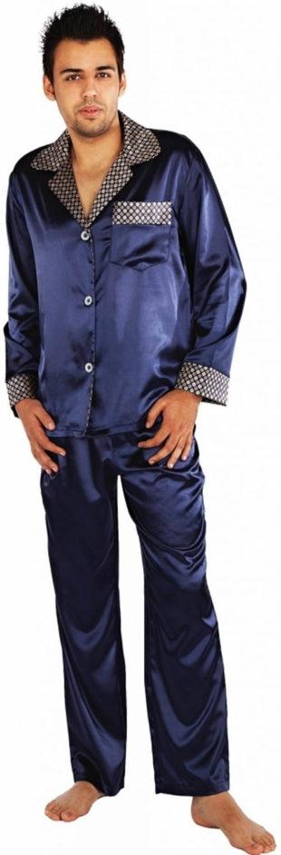 Luxusní pánské saténové pyžamo v tmavě modré barvě