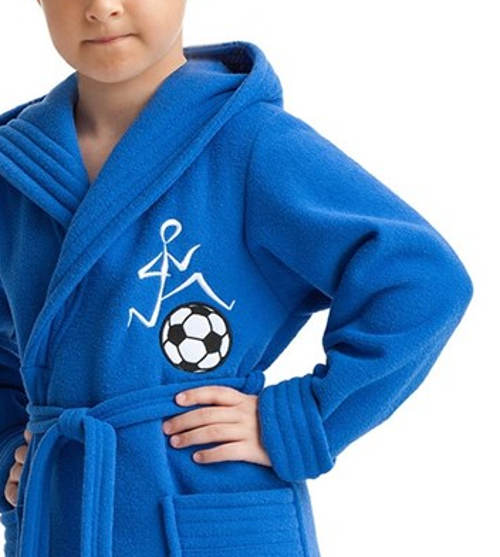 Modrý klučičí župan fotbalista