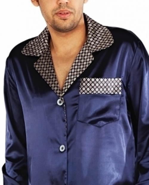 7d0fdb86de93 Luxusní pánské saténové pyžamo v tmavě modré barvě