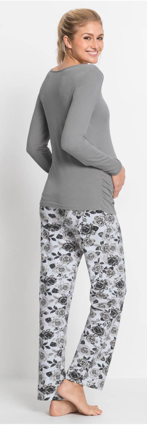 Šedé těhotenské pyžamo