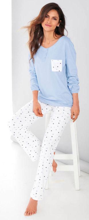 Světle modré dámské pyžamo pro plnoštíhlé