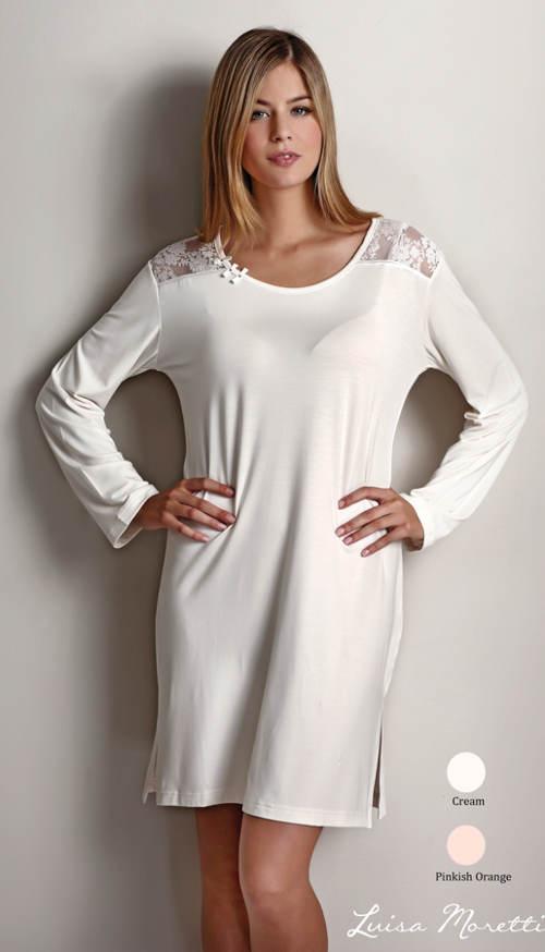 Bílá noční košilka s krajkovými vsadkami