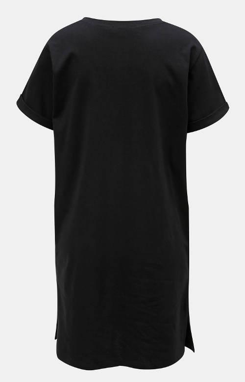 Černá bavlněná noční košilka s krátkým rukávem