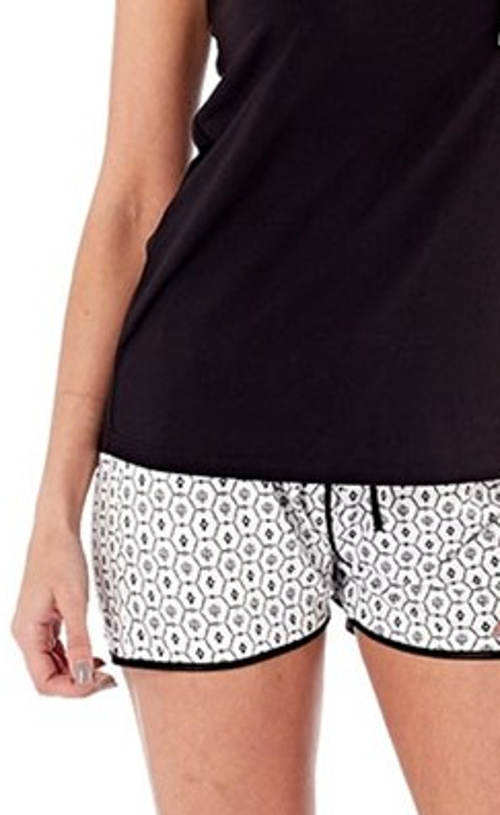 Černobílé dámské letní pyžamo