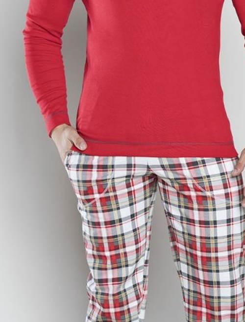 Červené pánské pyžamo s kostkovanýma kalhotama