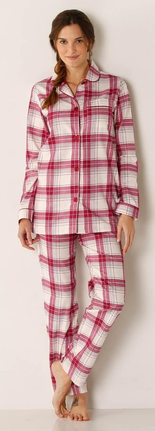 Dámské kostkované flanelové pyžamo