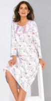 Dlouhá dámská noční košile s potiskem kytiček