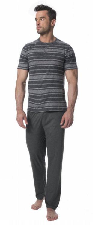 Dlouhé pánské pyžamo s krátkým rukávem