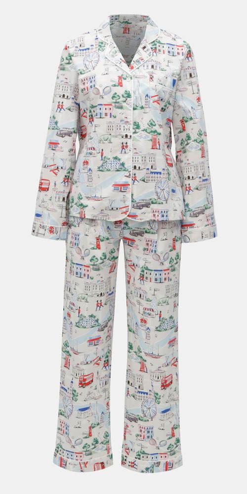 Klasické dámské kalhotové pyžamo na knoflíky
