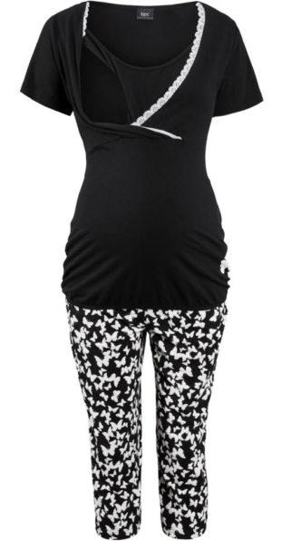 Kojící černé capri pyžamo