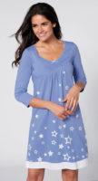 Krátká modrá noční košile s kvězdičkami