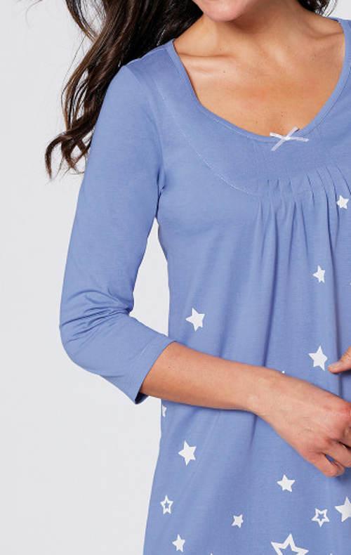 Modrá noční košile s tříčtvrtečním rukávem