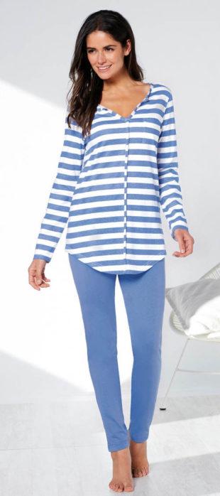Modré dámské pyžamo s dlouhými legínami