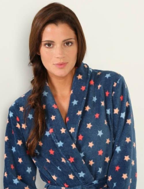 Modrý dámský límcový župan s hvězdičkami