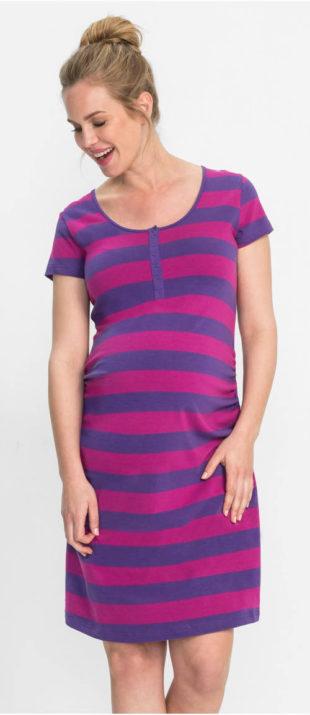 Praktická pruhovaná těhotenská a kojící noční košile