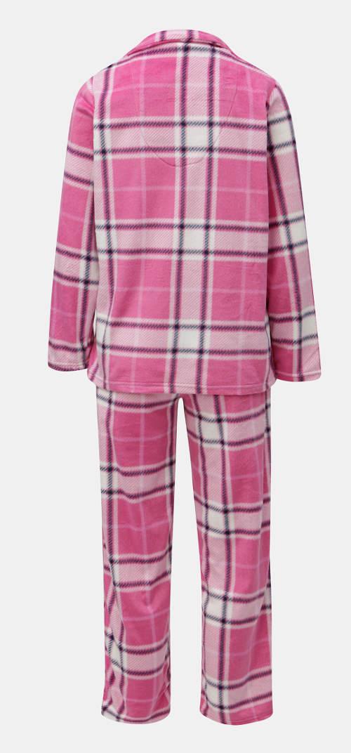 Růžové kostkované dámské pyžamo