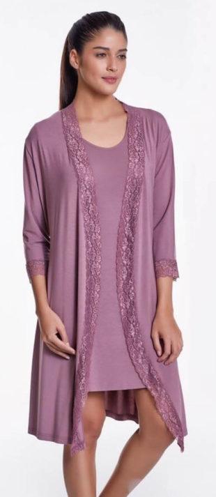 Bambusová fialová košilka TAMARA s lehkým župánkem