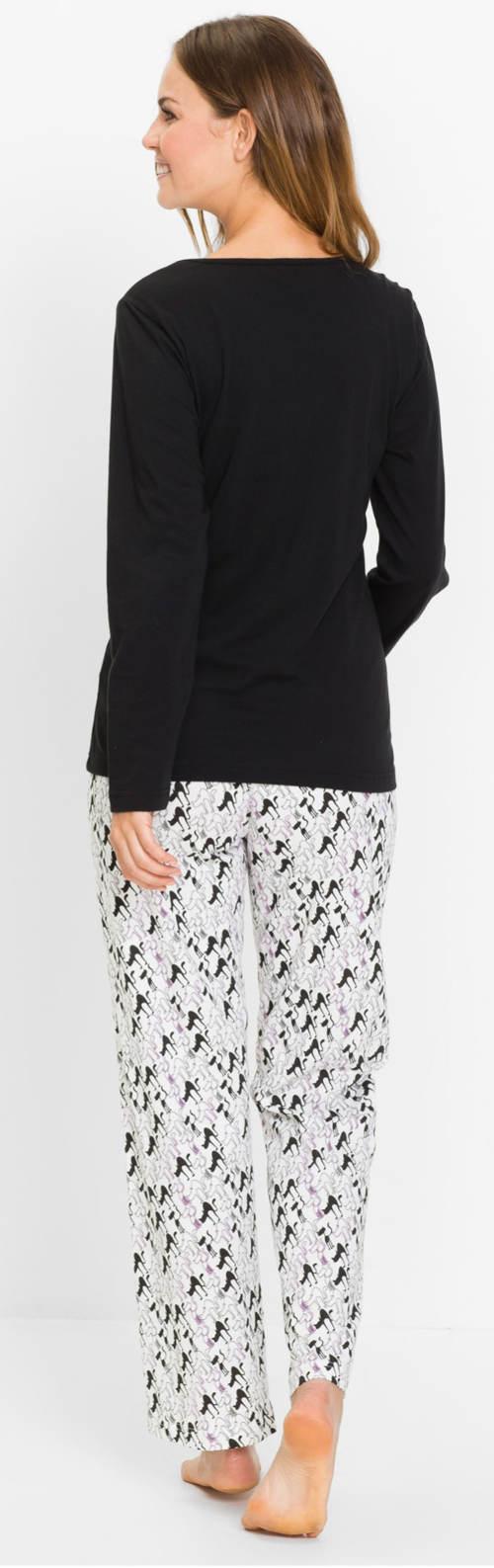 Černobílé dámské pyžamo s dlouhým rukávem