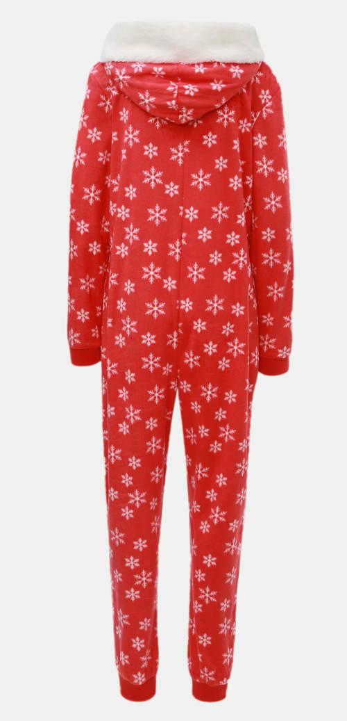 Červený vánoční overal s kapucí