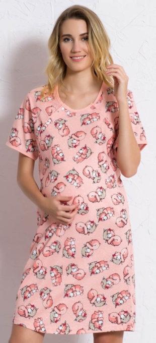Dámská bavlněná mateřská noční košile s krátkým rukávem