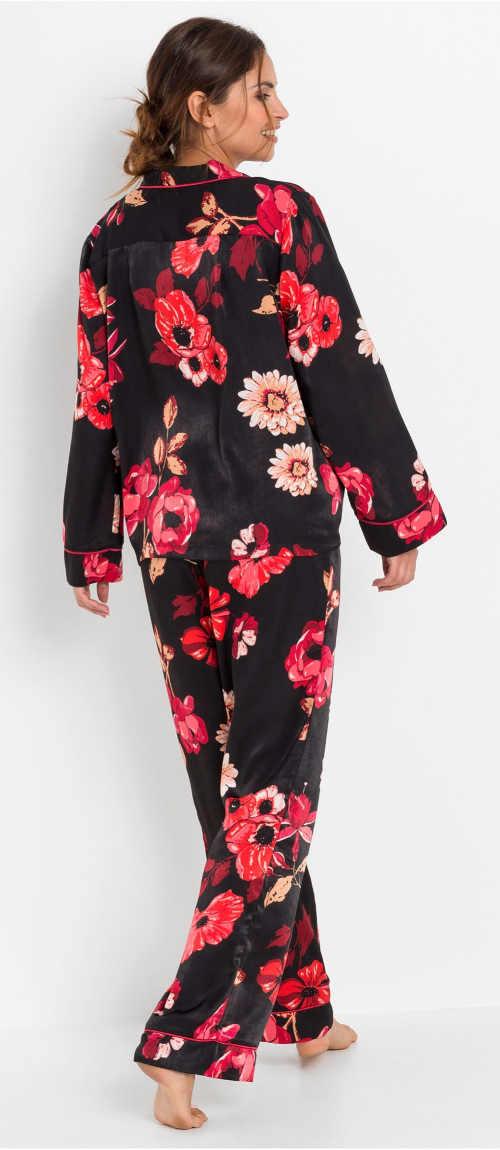 Květinové dámské saténové pyžamo